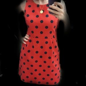 J. Crew Red Dress with Navy Polka Dots